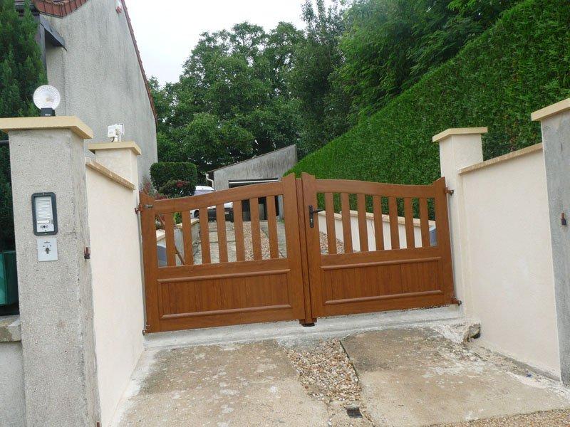pose portail alu bois